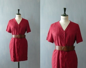 Vintage 1980s red silk dress. Shirtwaist dress. Silk shirt dress