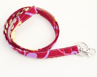 Ready to Ship Skinny Lanyard - Optional Safety Breakaway - Amy Butler Paradise Garden in Wine