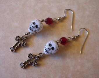 Spooky Skull and Cross Earrings - Halloween, Day of the Dead, Vampire, Zombie, Gothy, Gothic, Horror Film, Scary Movie, Cemetery, Graveyard