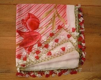turkish scarf, oya, red white needle lace