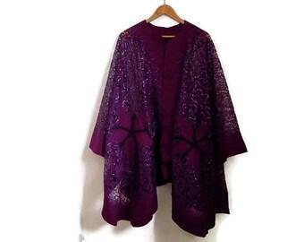 purple felted lace shawl, poncho