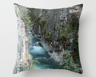 Camper Decor, Rock Pillow Cover, Turquoise Mountain Lodge Decoration, Rustic Sofa Accent, Earthy Chair Throw Cushion Case, Johnston Canyon