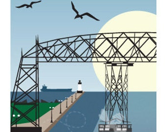 Lake Superior Shore Towns Series: Art Deco Duluth, MN Travel Print Free Shipping