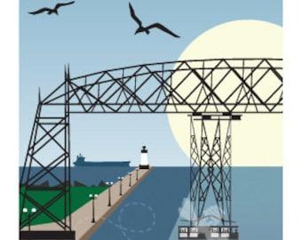 Lake Superior Shore Towns Series: Art Deco Duluth, MN Travel Print