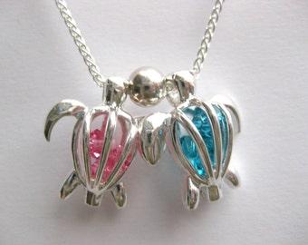 Birthstone Sea Glass Locket - Sea Turtle Necklace  jewelry turtle jewelry turtle pendant