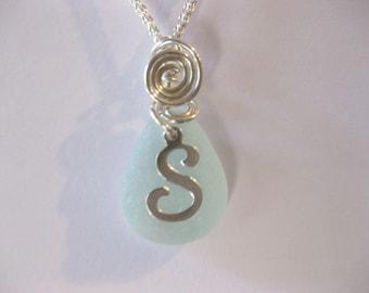 Sea glass jewelry Personalized necklace birthstone jewelry letter jewelry