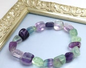 Bracelet Fluorite Beads Beaded Natural Stretchy One Size Fits Most Hand Made Lisajoy Sachs CIJ EtsyCij Christmasinjuly Purple Green Pink