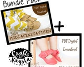 LIMITED TIME OFFER! Leather Moccasin Sewing Pattern - Baby Shoe Pattern - Bow Moccasin - Instant pdf digital download