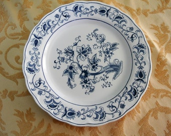 PAIR (2) Blue and White Double Phoenix Ironstone Ming Tree 10-inch Dinner Plates-Japan
