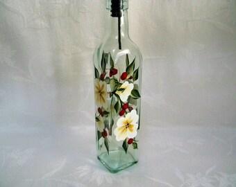 Olive oil bottle,oil bottle,oil decanter,oil and vinegar dispenser,oil container,glass container,glass bottle,bottle with flowers