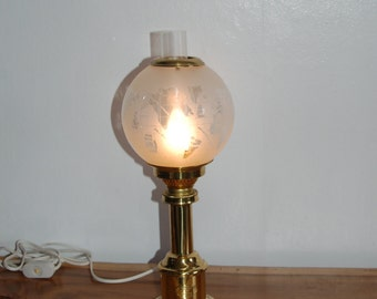 GV Harnisch Lamp - Vintage Brass Hurricane with a Old World Map Globe Desk / Accent Lamp - Made in Denmark