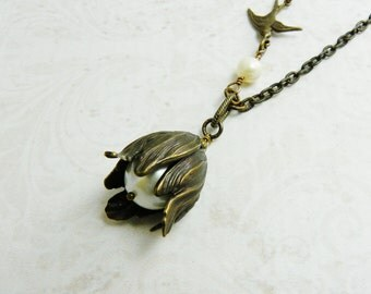 Freshwater Pearl Vintaj Brass Tulip Necklace /  Antique Brass  / Boho Chic / Steampunk