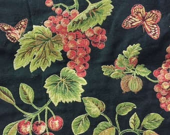 Fruit, Flower and  Butterfly Tapestry - Red and Green Tapestry  - Grapes, Cherries, Pears and Apples Tapestry Fabric - Designer Tapestry