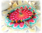 For Bonnie only. TURQUOISE ANKLE Bracelet Neon Bikini Colorful feather Anklet Tribal Native Boho foot jewelry Ibiza summer party GPyoga