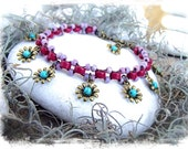 TURQUOISE Flower Charm ANKLET Magenta and Lilac DANCE anklet stackable Ankle Bracelet Boho foot jewelry Happy Summer accessories GPyoga