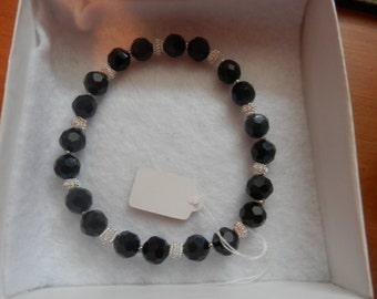 Black crystal & silver stretch bracelet