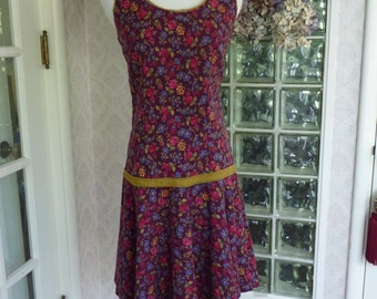 Vintage 1960s 60s Patti Woodward Dress Wine Woven Floral Cotton Drop Waist Flared Skirt  S Small