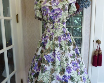 Vintage 50s 1950s Purple Floral Dress Shawl Collar Belt Waist Full Circle Garden Party Dress L Large