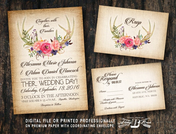 Burlap Wedding Invitations Diy: Rustic Wedding Invitation SET Burlap Wedding Invitation