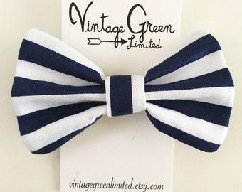 Nautical Navy and White Stripe Sailor Bow Baby Bow Headband, Headband Bow, Toddler Bow, Photo Shoot, Nylon Head band, Girl's Hair Clip