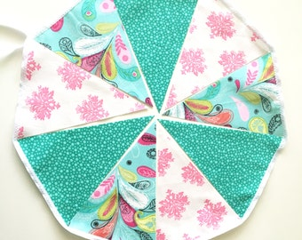 Bunting, Banner, Pink, Mint, Paisley Fabric Pennant Flags, Girl Nursery, Photo Prop, Birthday Party, Baby Shower, Wedding Garland