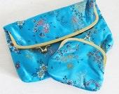 50% OFF SALE Vintage ASIAN Print Aqua Blue Clutch Purse with Mini Coin Bag / Silky Two-Piece Pouch Set