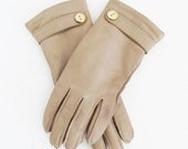 Vintage Leather Driving Gloves / Warm Cozy Isolated Winter Wrist Gloves