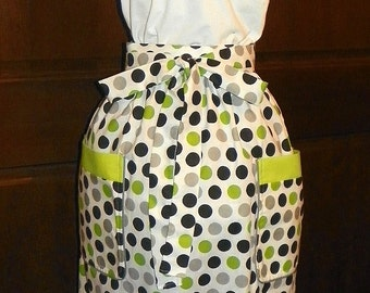 Extra Long Waist Apron 27 inch Black Gray Green Dots Handmade for Kitchen Cooking Craft Hostess Activities Excellent Clothing Protector