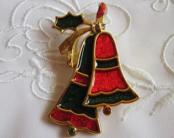 Vintage Gold Tone Christmas Bells in Red and Green by Beatrix