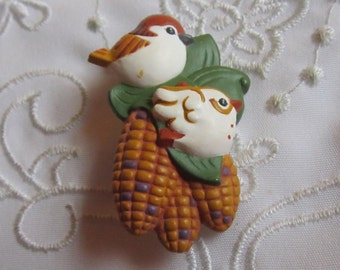Vintage Hallmark Autumn Pin with Two Chickadees, Green Leaves and Ears of Corn
