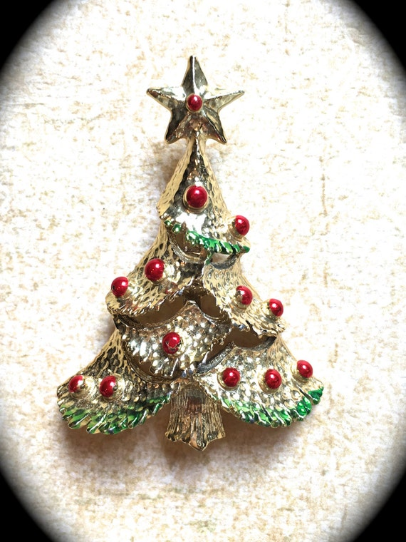 Vintage Christmas tree brooch-Christmas Tree Pin, Holiday Pin, Holiday Brooch, Christmas Jewelry, Pin, Brooch, Tree Brooch, Teacher Gifts