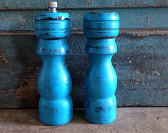 Turquoise Salt and Pepper Shaker Set Wood Distressed