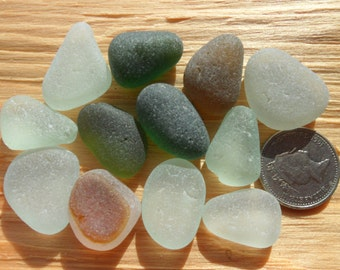 12 Pendants -Beautiful English Seaham Sea Glass - Free Shipping (4838)