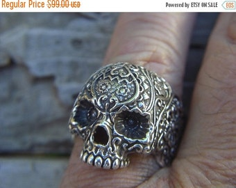 ON SALE sugar skull ring in sterling silver