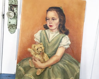Vintage Portrait Painting Girl Holding Teddy Bear, Vintage Child Painting, Canvas Painting, Signed Painting