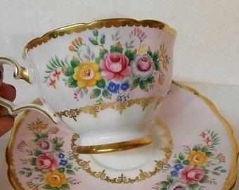 Vintage Grosvenor PINK Roses Gold Teacup and Saucer 1940's Bone China England Teacup Saucer Set Grosvenor Teacup Palest Pink Shabby Cottage