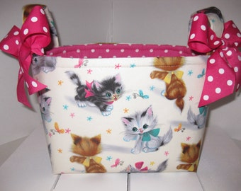 Sweet Baby Kittens Polka Dot Organizer bin / Fabric Basket / Small Diaper Caddy -Personalization Available