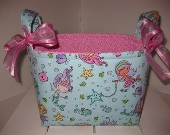 Aqua Blue Pink Purple Mermaid Sparkle Organizer bin / Fabric Basket / Small Diaper Caddy -Personalization Available