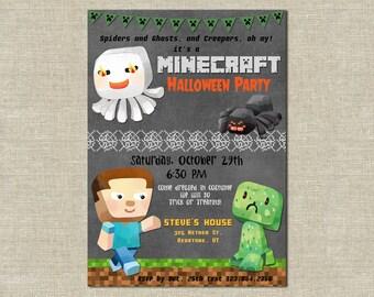 Minecraft Birthday Party Invitation,kids Halloween invitation, child's Halloween birthday invite, creeper party, Minecraft theme, Steve