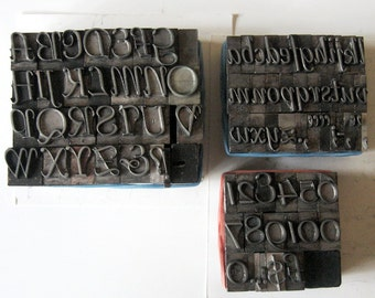 Vintage Metal Letterpress Type Bernhard Tango 82 Piece Uppercase Lowercase Numbers