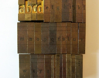 Vintage Ludlow Mats Matrices Brass A to Z Lowercase 34 Piece Complete Tempo Bold Condensed 60 pt Printing Type