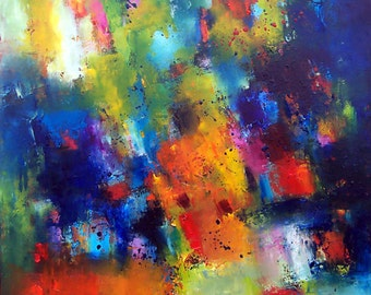 Large abstract oil painting ~ Toronto artist Katya Trischuk ~ 36x42 huge oil abstract ~ bright blue yellow greens
