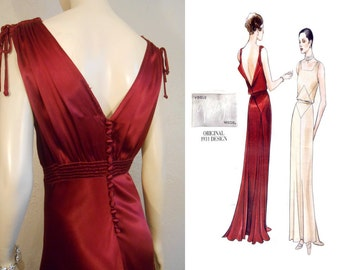 Announcing the Lady Amelia Montrose  - Vintage 1930s Claret Red Silk Rayon Dress w/Plunge Back Button Detail - 4/6