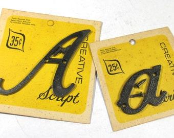 """Vintage Plastic Letters 3"""" YOUR CHOICE Caps Lowercase Black Plastic Letters Creative Script Cursive Alphabet A-Z Assemblage Supplies (F111)"""