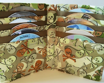 DVD Case Video Game Disc Book CD Holder Storage Sleeves Cases Car Travel - Camouflage Skull and Cross Bones Fabric