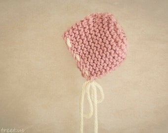 Baby Girl Hat, Rose Pink Newborn Knit Hat, Ivory Hat, Baby Girl Photo Prop, Chunky Hat, Baby Bonnet, Newborn Props, Baby Props, RTS