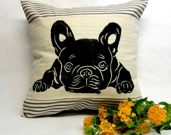 French Bulldog Pillow, Decorative French Bulldog Pillow, Frenchie Dog Pillow, Stripe Frenchie Pillow, French Bulldog Decor, Decorative