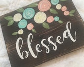 Blessed - mini pallet sign with coral and mint flowers