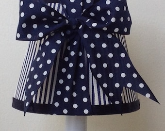 Chandelier Lamp Shade in a new fresh Navy Blue Stripe and Navy and White Dot Bow