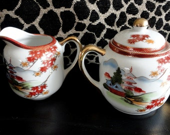 Vintage Japanese Sugar Bowl Top and Creamer Hand Painted Gold Gild Kutani Vintage